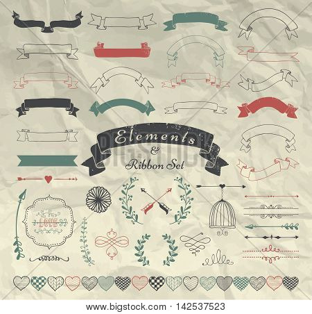 Set of Hand Drawn Doodle Sketched Rustic Decorative Wedding Design Elements and Ribbons. Grunge Textured Ribbons and Badges on Crumpled Paper Background. Vintage Vector Illustration.