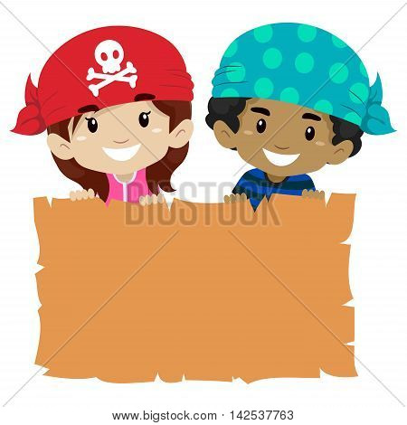 Vector Illustration of Kids holding Blank Papyrus