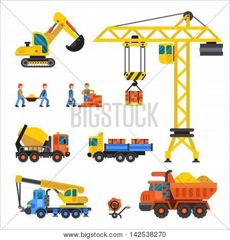 Building under construction, workers and construction technic vector illustration. Building mixer truck, crane vector. Under construction concept. Workers in helmet, construction machine isolated