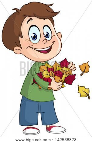Happy kid carrying autumn leaves