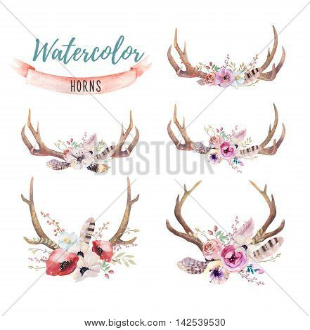 Set of watercolor floral boho antler print. western bohemian decoration. Hand drawn vintage deer horns with flowers leaves and herbs. Eco style hipster illustration on white.
