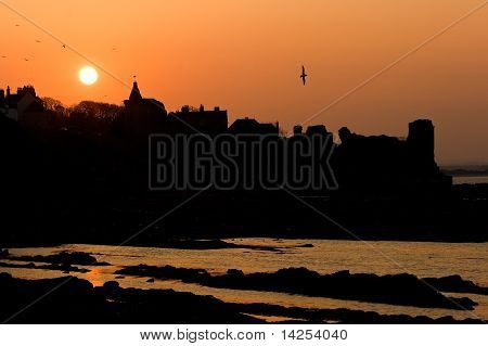 Sunset Silhouettes At St Andrews Castle