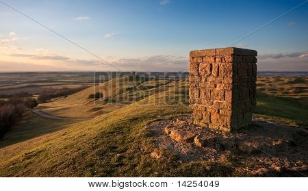 Trig Point Overlooking Warwickshire Countryside
