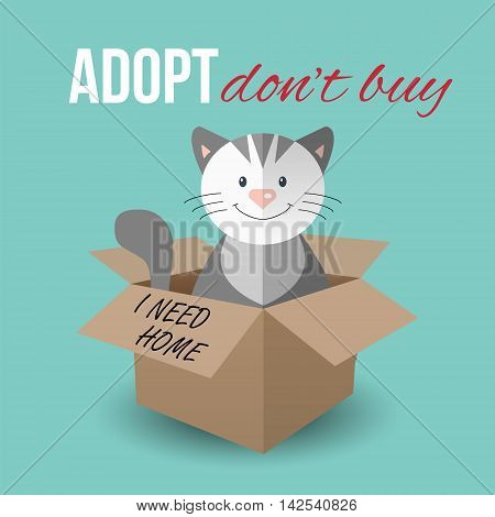Cute cat in a box with Adopt Don't buy text. Homeless animals concept pets adoption theme. Vector illustration.
