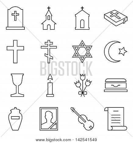 Set of vector icons of linear symbols funeral and cemetery