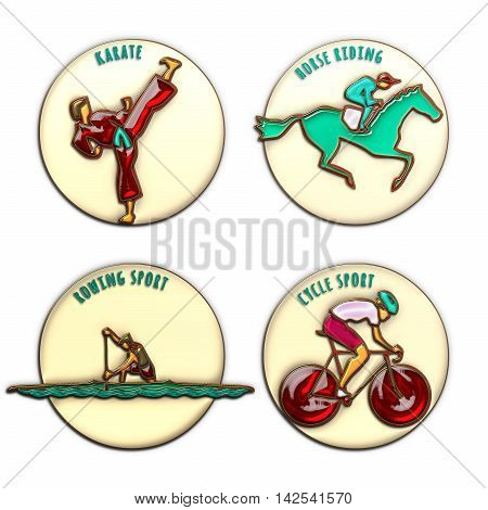 Athlete Icon. Karate. Horse Riding. Cycle sport. Rowing sport. Sport icons set with sportsmen for any competition or championship design. Original 3D Illustration gold enamel and glass