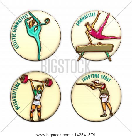 Athlete Icons. Gymnastics. Shooting sport. Weightlifting. Artistic Gymnastics. Sport icons with sportsmen for competitions or championship design. 3D Illustration gold enamel and glass