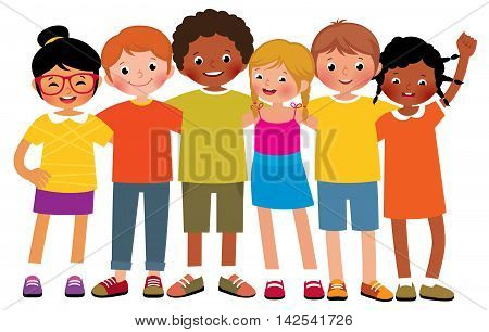 Stock Vector cartoon illustration of a group of different ethnic happy children boys and girls on a white background