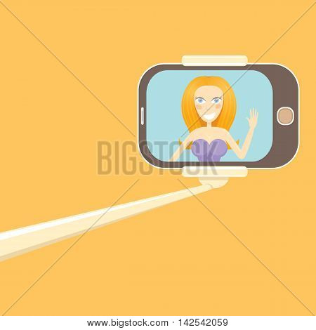 Taking Selfie Photo on Smart Phone concept icon. selfie cartoon people vector illustration. vector selfie stick with young happy beauty girl