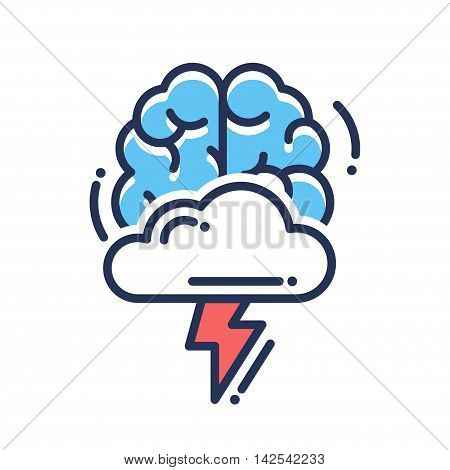 Brainstorming vector flat design single isolated icon, pictogram. Brain with cloud and flashlight