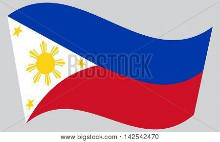 Flag of the Philippines waving on gray background. Philippine national flag.