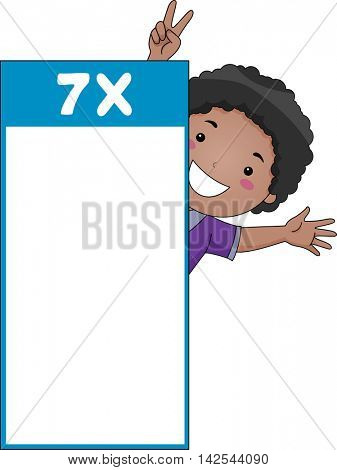 Illustration of a Little Boy Peeking from Behind a Multiplication Flash Card for Multiples of Seven