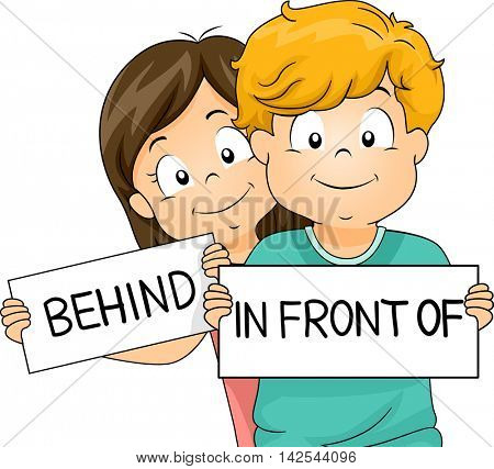 Illustration of a Little Boy and Girl Demonstrating What Behind and In Front Of Mean