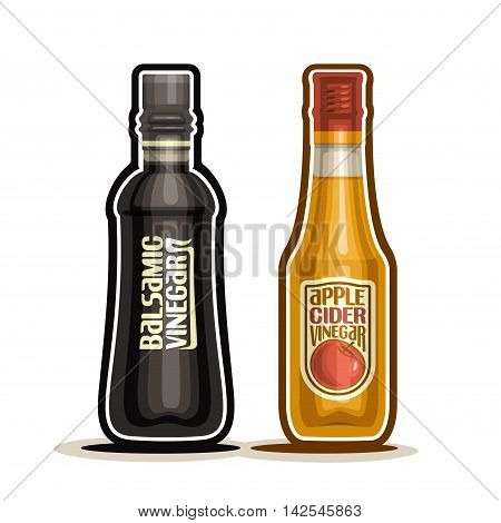 Vector logo Balsamic and Apple Cider Vinegar Bottles,container dark balsamico acetum with plastic cap, glass bottle fruit apple vinegar with label isolated on white background, acetic liquid for salad
