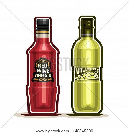 Vector logo Red and White Wine Vinegar Bottles, container grape acetum with plastic cap, glass bottle natural wine vinegar with label, isolated on white background, acetic liquid for vegetable salad.