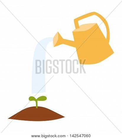 Watering can flowers plant concept nature summer blooming vector. Nature watering can flower plant and colorful watering flower. Botany outdoors horticulture watering flower, growth concept