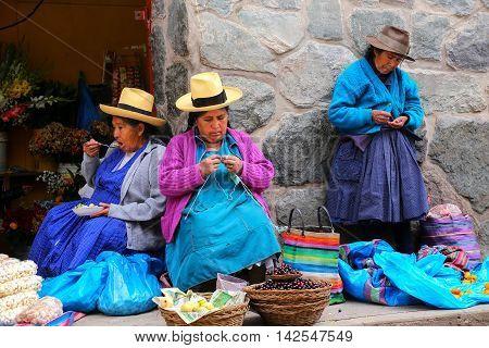 Ollantaytambo, Peru - January 18: Unidentified Womensit At The Market On January 18, 2015  In Ollant