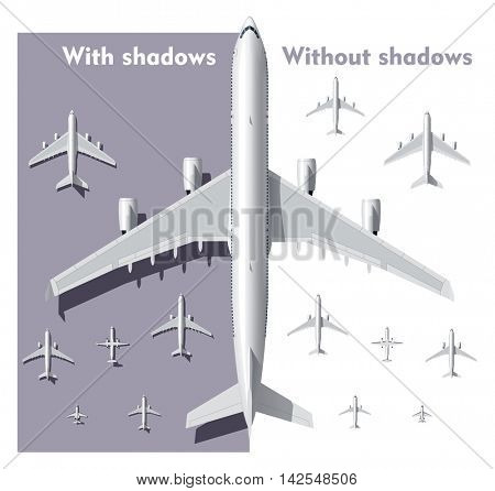 Vector overhead view airplanes set