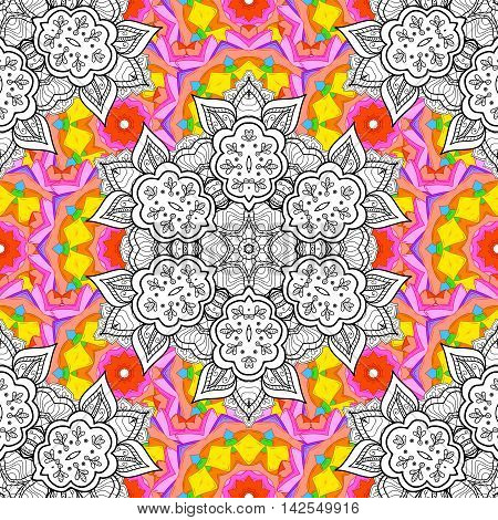 seamless pattern with hand drawn doodle mandala. Indian tribal ornament. Yellow pink brawn and white colors. Colorful ethnic background.