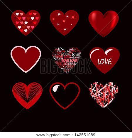 vector, icons, heart, illustration, design, shape, symbol, love, set, valentine's, red, white, variation, art, simplicity, sign, romance, outline, decoration, striped, contour, wedding