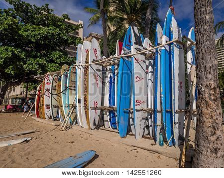 HONOLULU, USA - AUG 2: Surf rental shop on Waikiki beach on August 2, 2016 in Honolulu, Usa. Waikiki beach is neighborhood of Honolulu, best known for white sand and surfing.