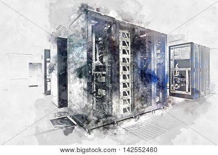 Server room. Digital watercolor painting. Digital art