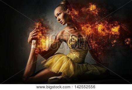 Ballet dancer in a fire. Digital art