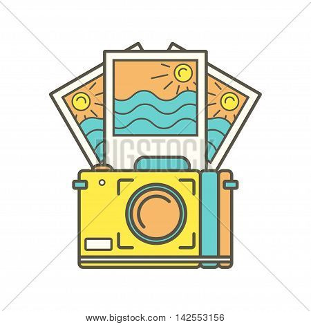 Camera and Instant photos. Photo frames. Isolated on a white background. Vector illustration. Photo Icon. Camera icon. Travel icon.