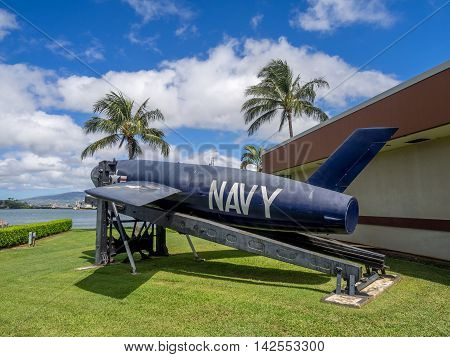 OAHU, HI - AUG 5, 2016: Close up of the Regulus missile in Pearl Harbor Hawaii on March 2, 2016 in Oahu. Attack on Pearl Harbor by Empire of Japan in 1941 brought United States into World War II.