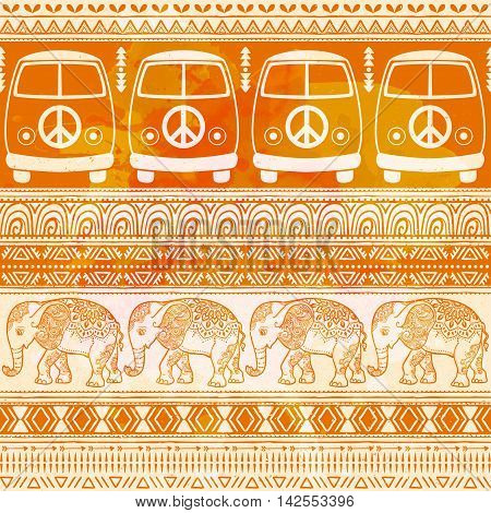 Hippie vintage car a minivan and elephant african Love and Music, woodstock with hand pattern fonts textile background and textures. Hippy color vector illustration. Retro 1960s, 70s style