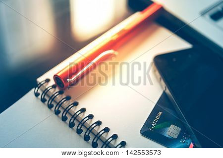 Mobile Phone, Credit Card And Pen