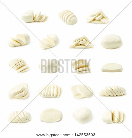 Set of mulitple mozzarella cheese images isolated over the white background, set of multiple different foreshortenings