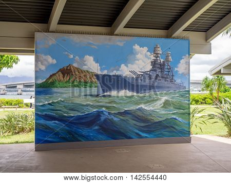 OAHU, HI - AUG 5, 2016: World War II Valor in the Pacific National Monument on August 5, 2016 in Pearl Harbor, USA. The Monument includes the Pearl Harbor Visitor Centre and the USS Arizona Memorial.