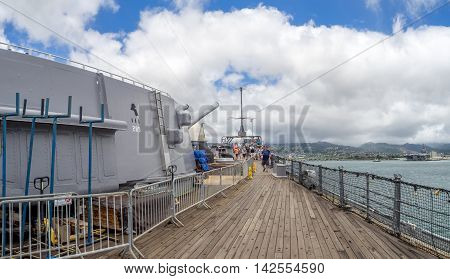 OAHU, HI - AUG 5, 2016: Onboard the USS Missouri battleship on August 5, 2016 in Pearl Harbor, USA. Site of the treaty signing ending WWII between the US and Japan, is now berthed in Pearl Harbor.