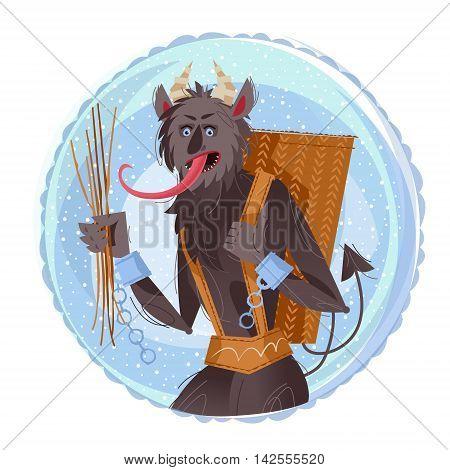 Krampus. Crampus. Traditional christmas devil. Vector illustration
