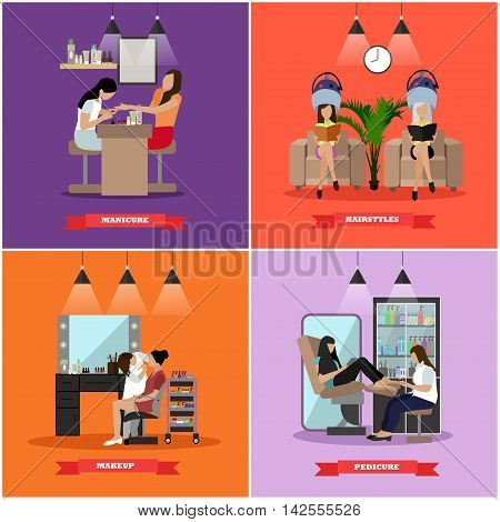 Beauty salon vector concept banners. Haircut, manicure and make up atelier. Women in beauty studio illustration in flat cartoon style.