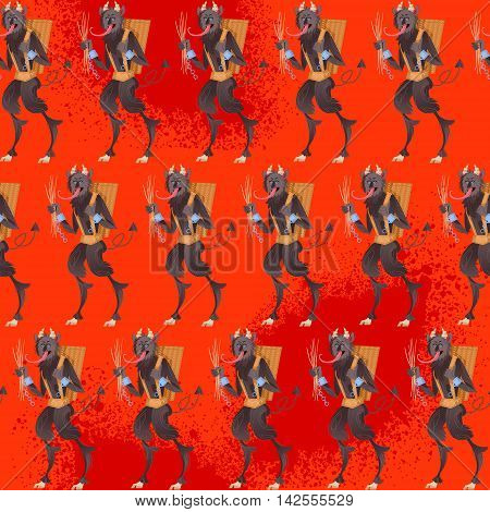Krampus. Traditional christmas devil. Seamless background pattern. Vector illustration