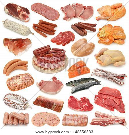 Set of meat products on a white background. Smoked meat products.