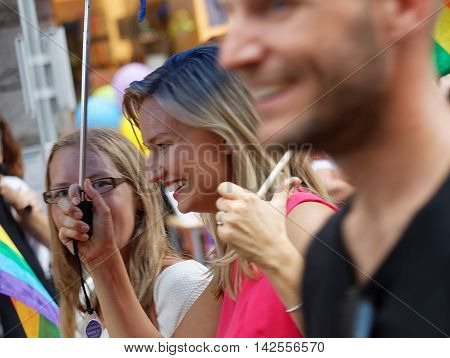 STOCKHOLM SWEDEN - JUL 30 2016: The swedish party leader Ebba Busch Thor in the Pride parade July 30 2016 in Stockholm Sweden