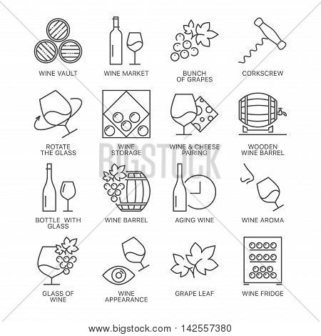 Thin line wine icons set isolated on white background. Web graphics simple mono outline symbol collection.
