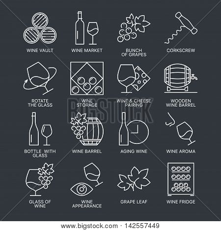 Thin line wine icons set isolated on dark background. Web graphics simple mono outline symbol collection.
