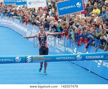 STOCKHOLM - JUL 02 2016: Triathlete Alistair Brownlee winning the race in the Men's ITU World Triathlon series event July 02 2016 in Stockholm Sweden