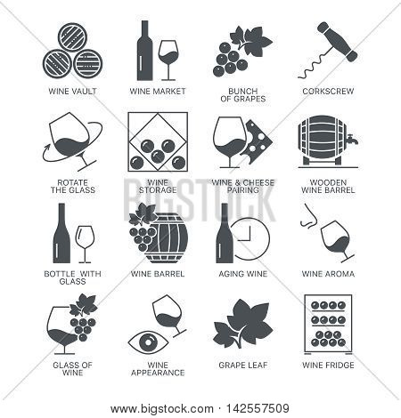 Wine icons set isolated on white background. Web graphics symbol collection.