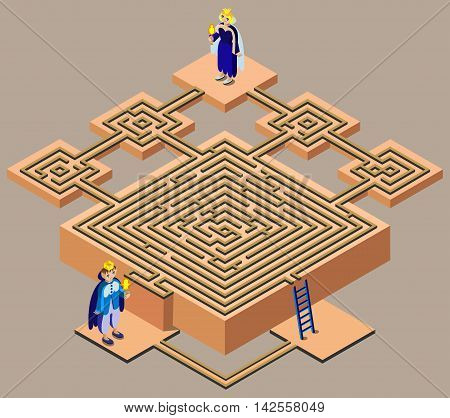 Fairytale maze. King looking queen. 3D isometric view. Vector illustration. poster