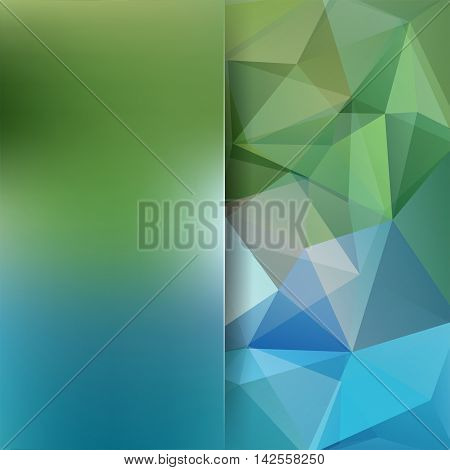 Abstract Geometric Style Green Background. Blue Business Background Blur Background With Glass. Vect