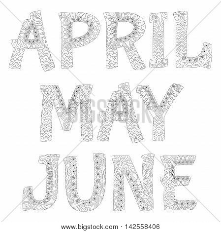 Names of months in the year. April, may ,june. Zentangle style. Antistress coloring book. Vector illustration.
