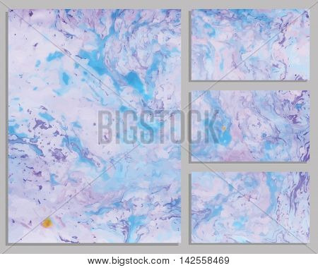 Marble purple and blue business cards. Collection of business cards. Vector illustration.