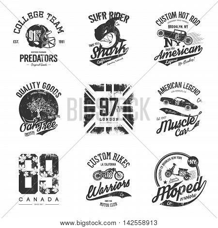 Vintage american old grunge effect tee print vector design set.
