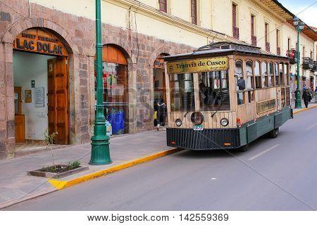 Cusco, Peru - January 20: Public Tram In The Street On January 20, 2015  In Cusco, Peru. In 1983 Cus