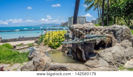 HONOLULU, USA - AUG 8: Duke Kahanamoku Statue on Waikiki Beach on August 8, 2016 in Honolulu. Duke famously popularized surfing and won gold medals for the USA in swimming.